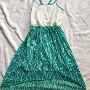 Dresses & Skirts - Turquoise and white spaghetti strap summer dress.